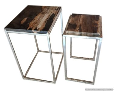 Petrified side tables for indoor use