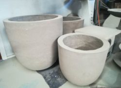 Round egg pot planters ideal for that area needing interest. Call us